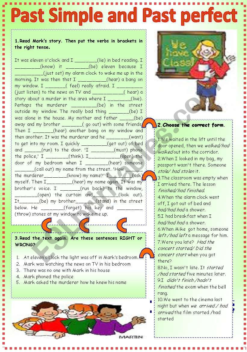 past simple and past perfect worksheet