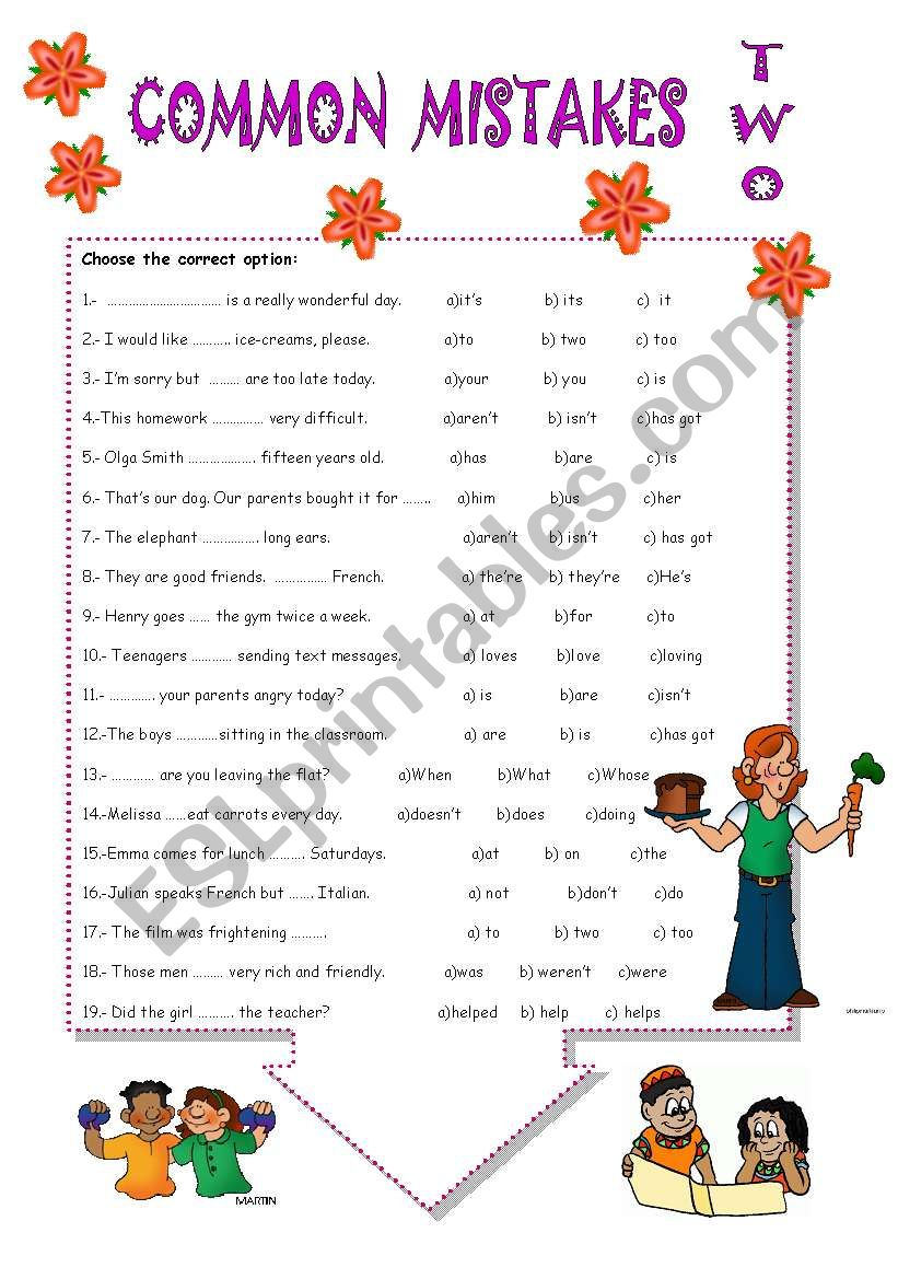 COMMON MISTAKES.TWO worksheet