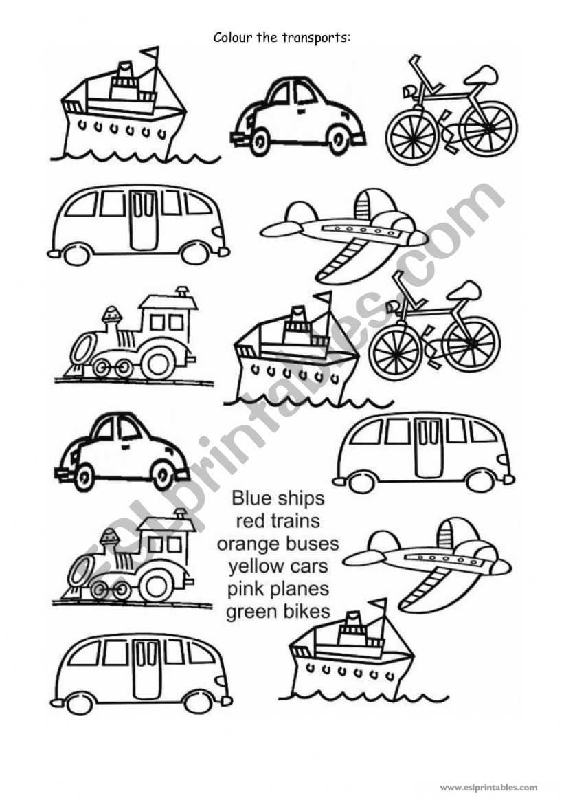 Colour the transports worksheet