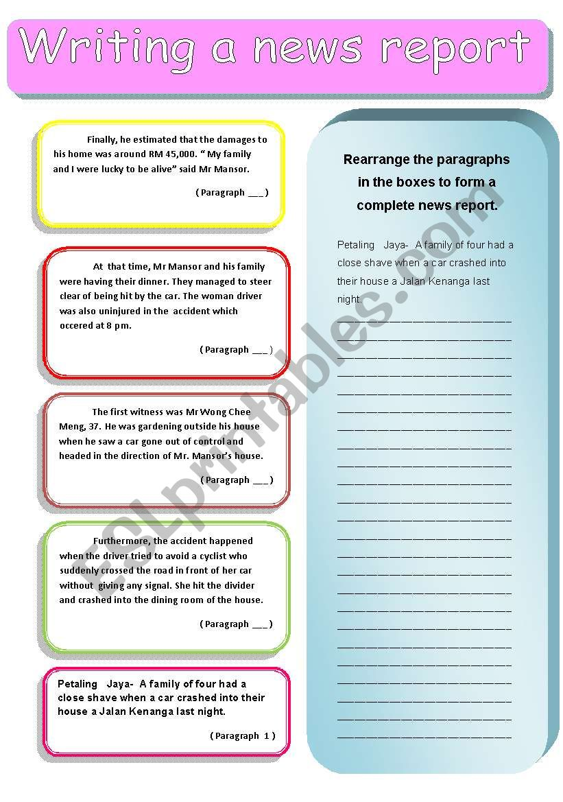 writing a report 2 worksheet