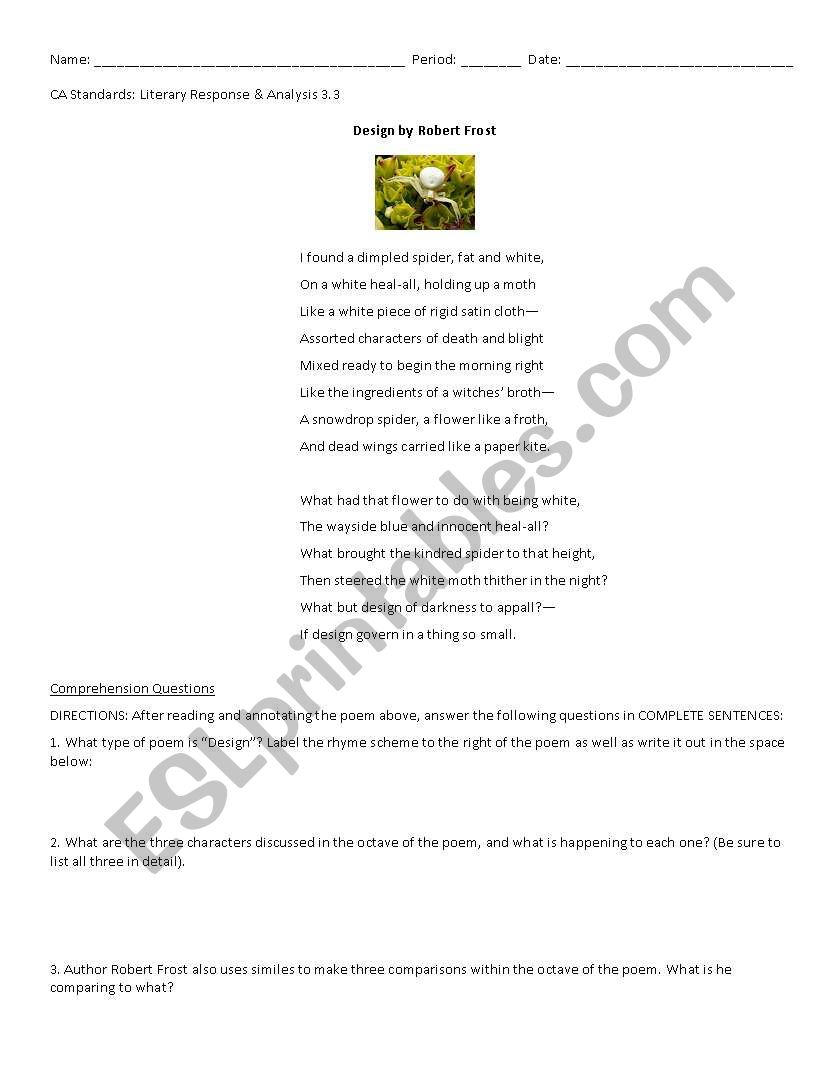 Worksheets Sonnet Worksheet english worksheets robert design sonnet worksheet robert