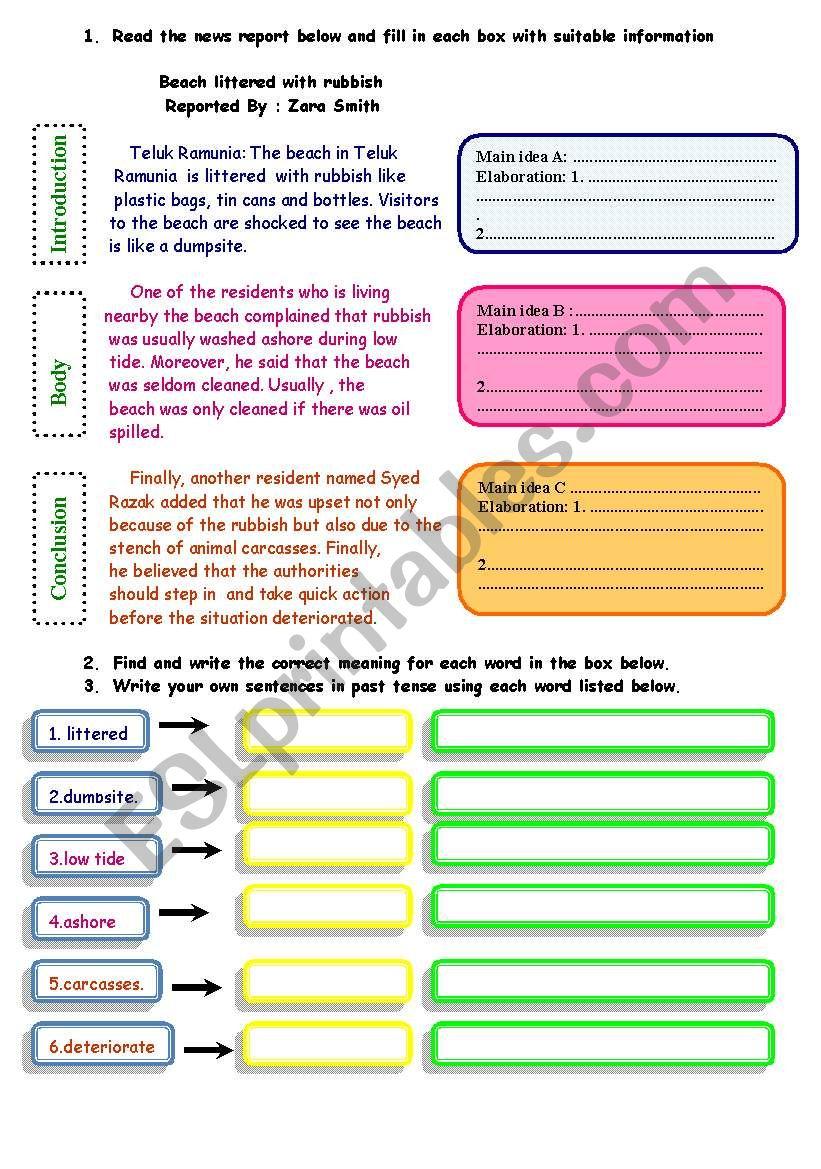 writing a report 3 -  identifying main ideas