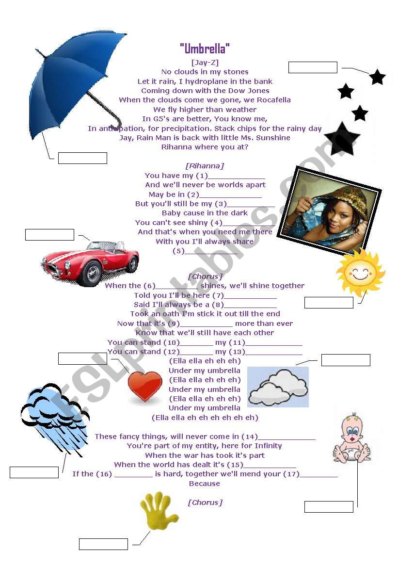 Rihanna-Umbrella worksheet