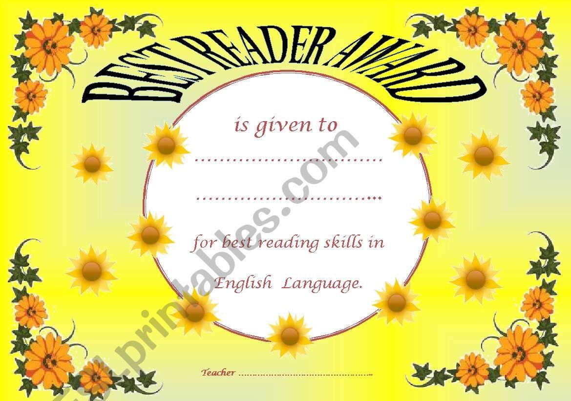 Best Reader Award worksheet