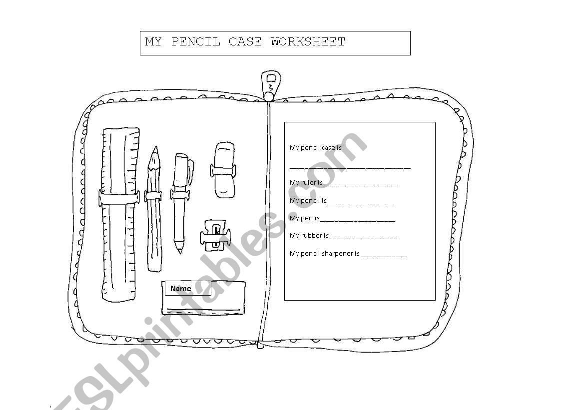My pencil case worksheet