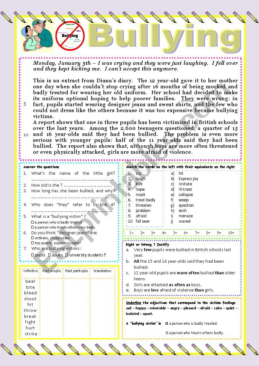 Bullying READING or TEST worksheet