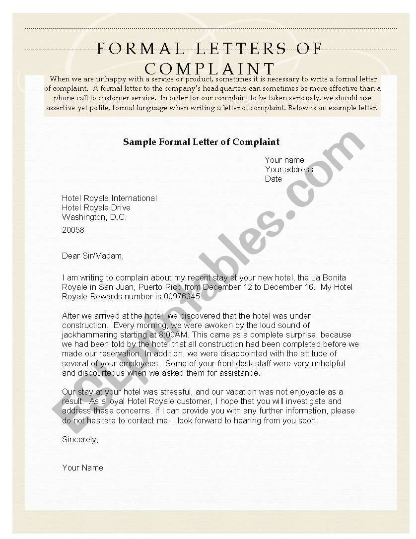 Formal complaint letter, examples and exercises - ESL worksheet by