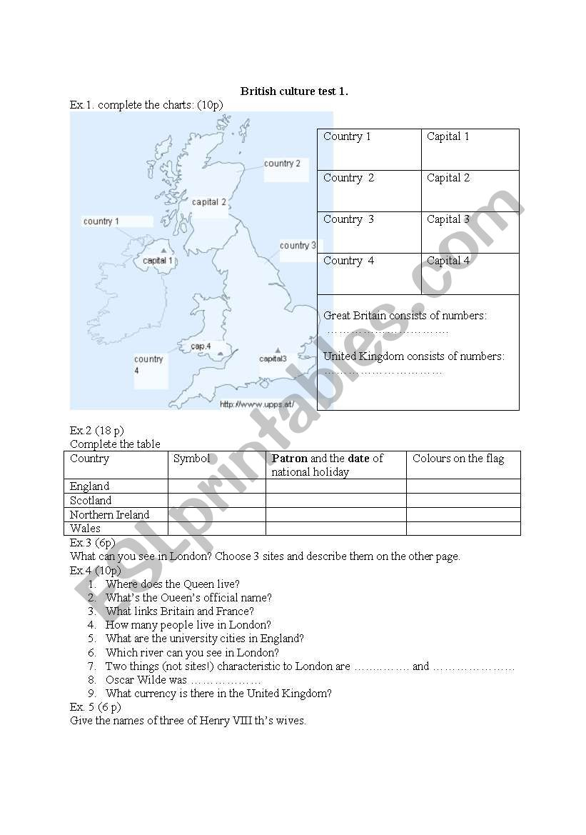 UK - test on british culture, geography and basic info