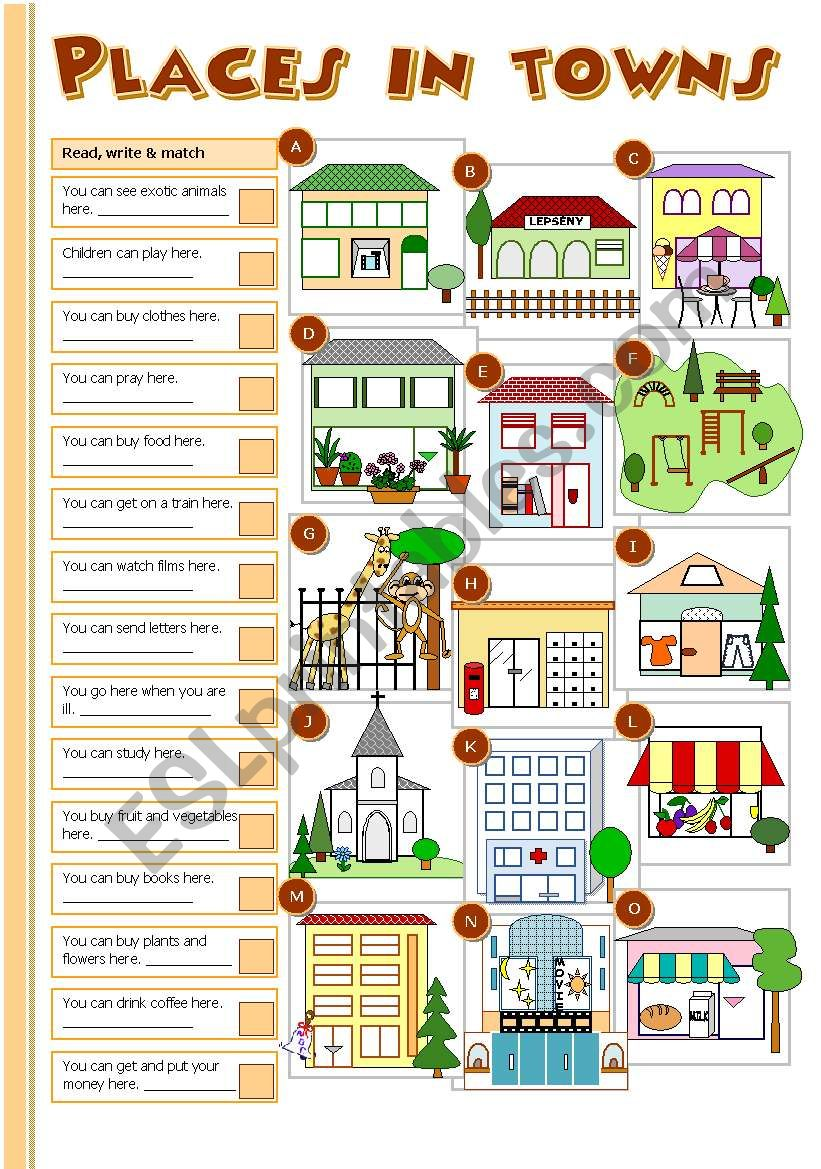 Places in towns worksheet