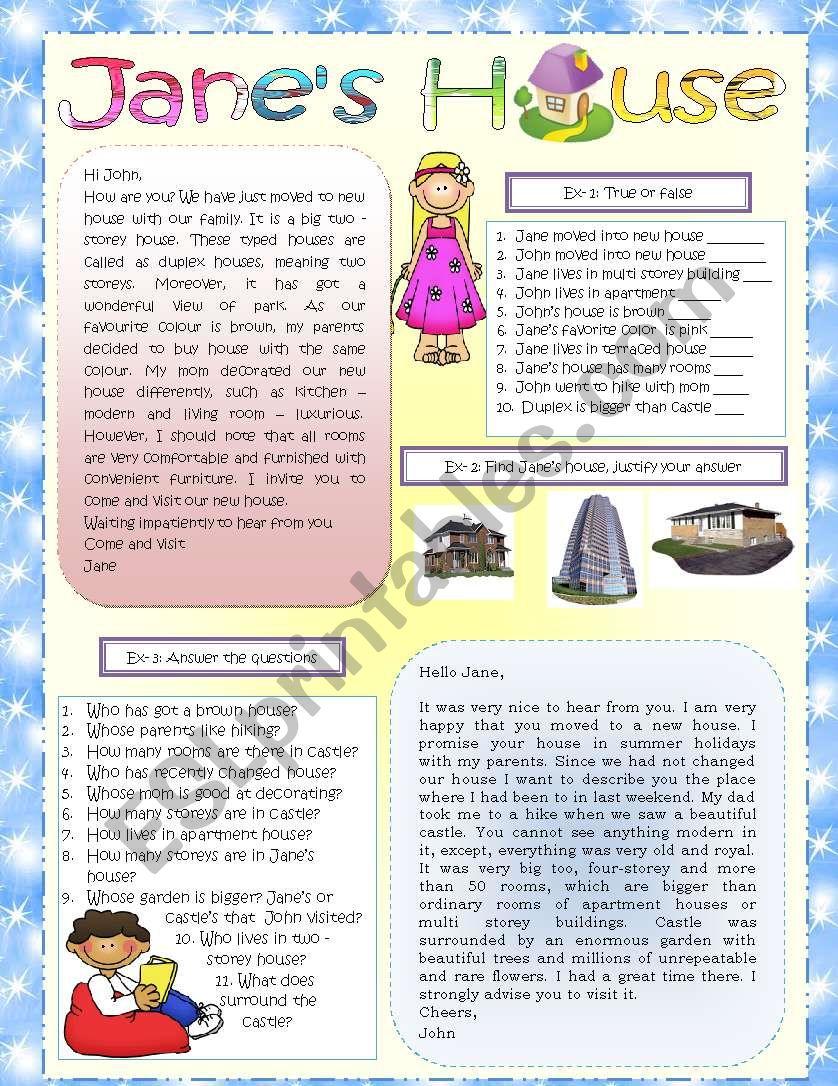 Jane´s house description   worksheet