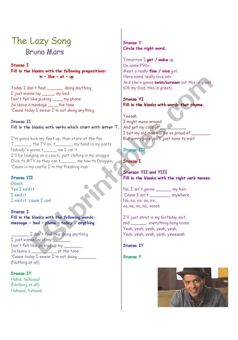 Preposition In Learn In Marathi All Complate: Working With Verb Tenses And Prepositions : The Lazy Song