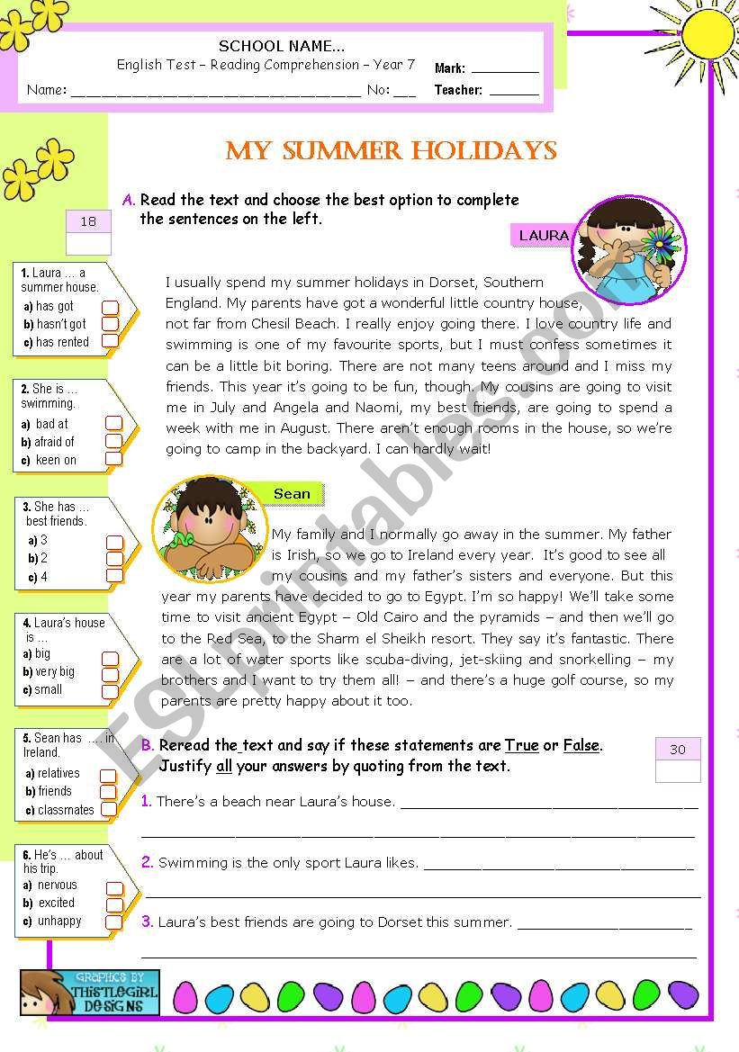 My Summer Holidays  - Reading Comprehension