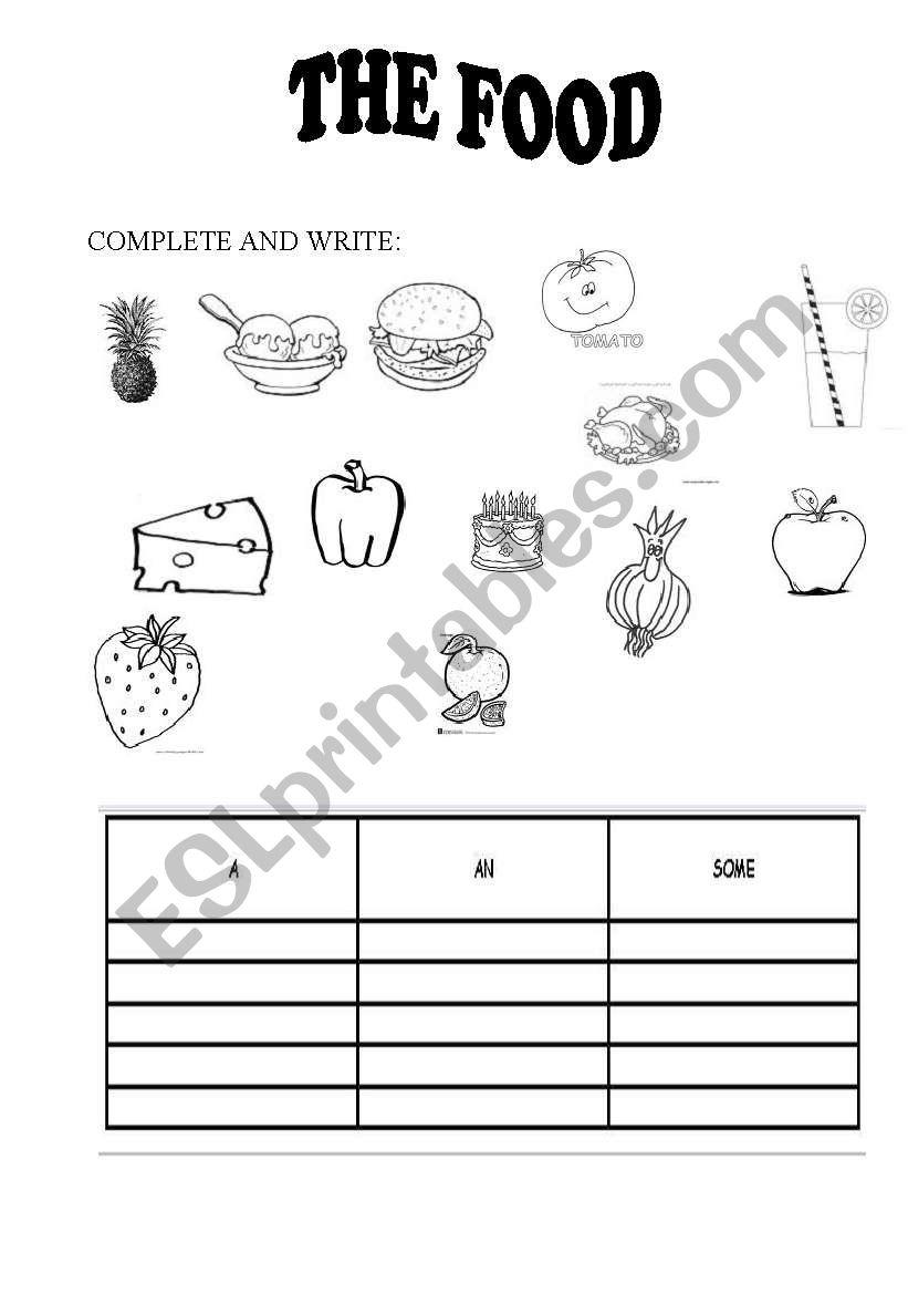 food+desserts worksheet