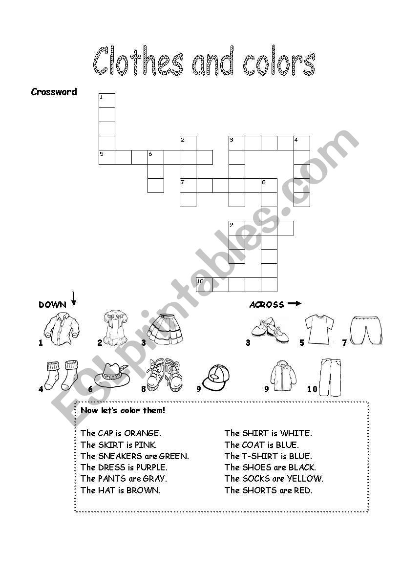 Clothes and colors worksheet