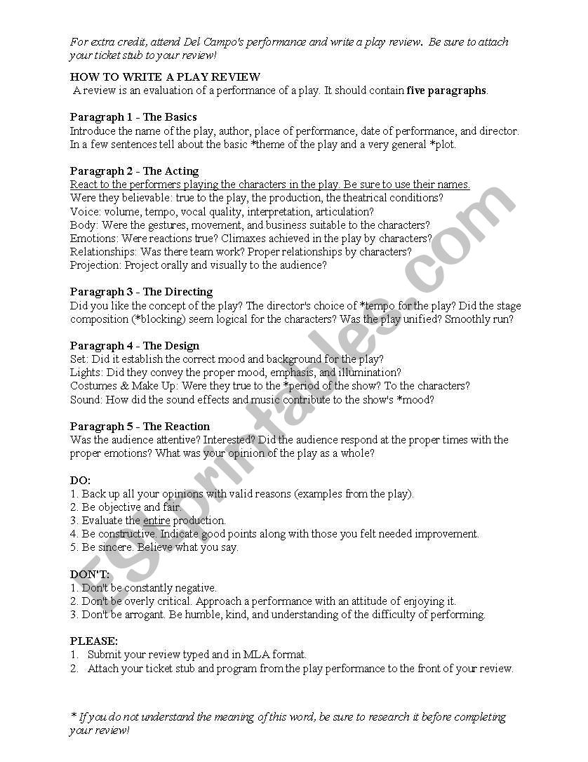 English worksheets: How to Write a Play Review