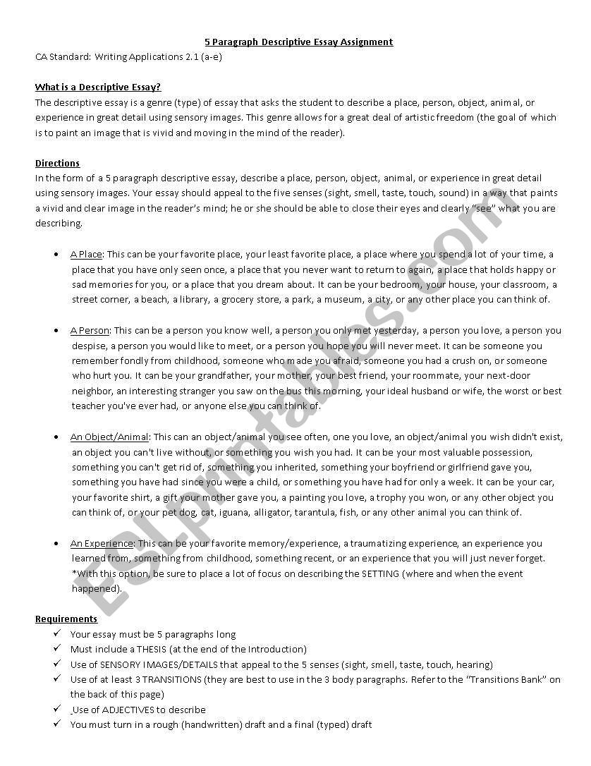 Example Of A Essay Paper Descriptive Essay Assignment Worksheet From Thesis To Essay Writing also Fifth Business Essay Descriptive Essay Assignment  Esl Worksheet By Ldiaconis High School Vs College Essay Compare And Contrast