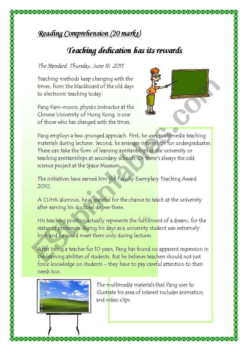 English worksheets teaching dedication has its rewards reading teaching dedication has its rewards reading comprehension worksheet20 marks 8 questions ibookread PDF
