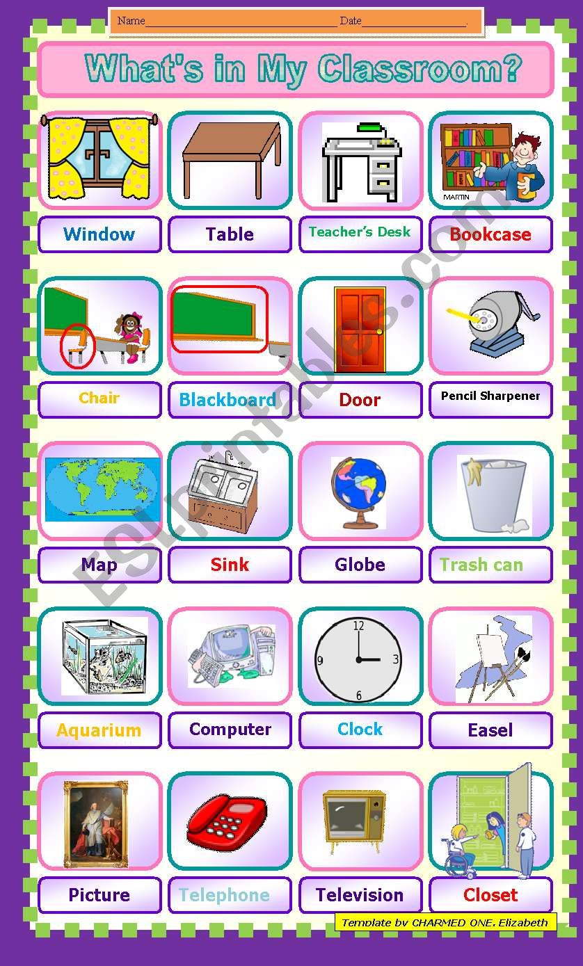 Classroom objects for a treasure hunt indoors - a great party game or reward for the students´hard work