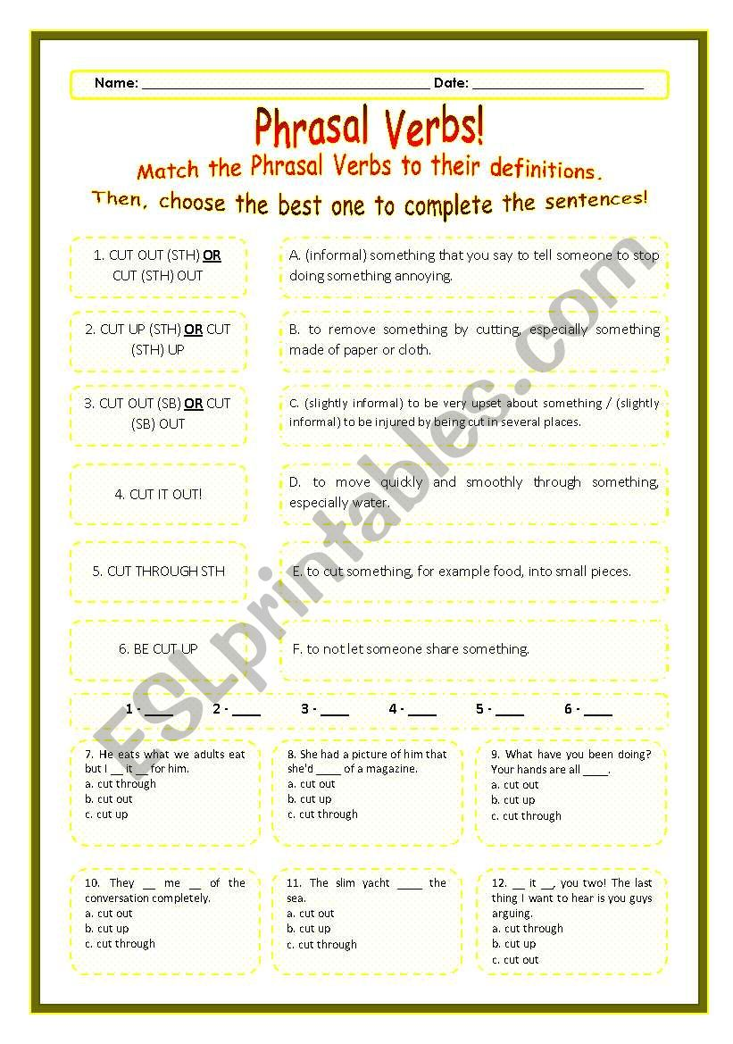 > Phrasal Verbs Practice 21! > --*-- Definitions + Exercise --*-- BW Included --*-- Fully Editable With Key!