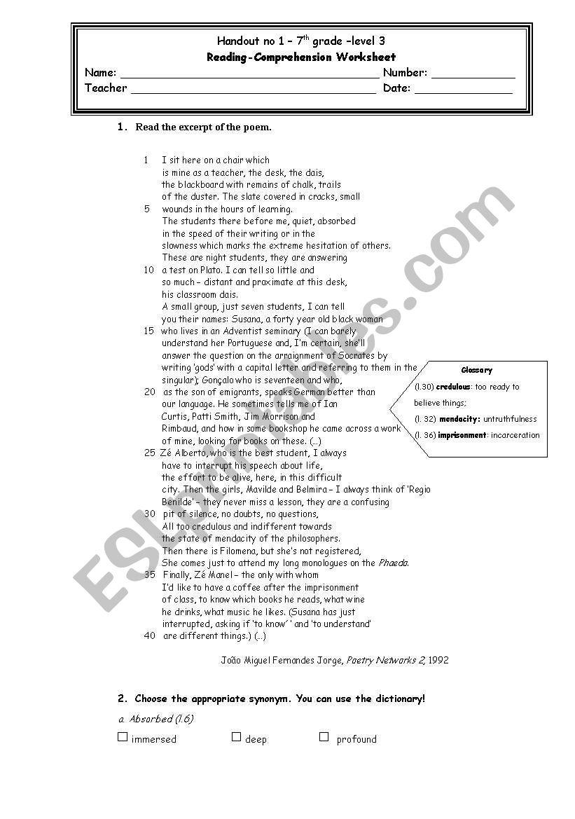 - The Teacher - Reading Comprehension - ESL Worksheet By Petite_helene