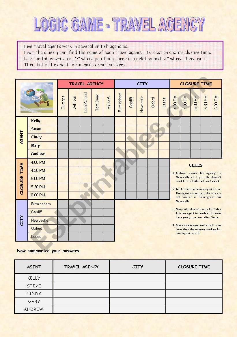 Logic Game - Travel agency (Key included)