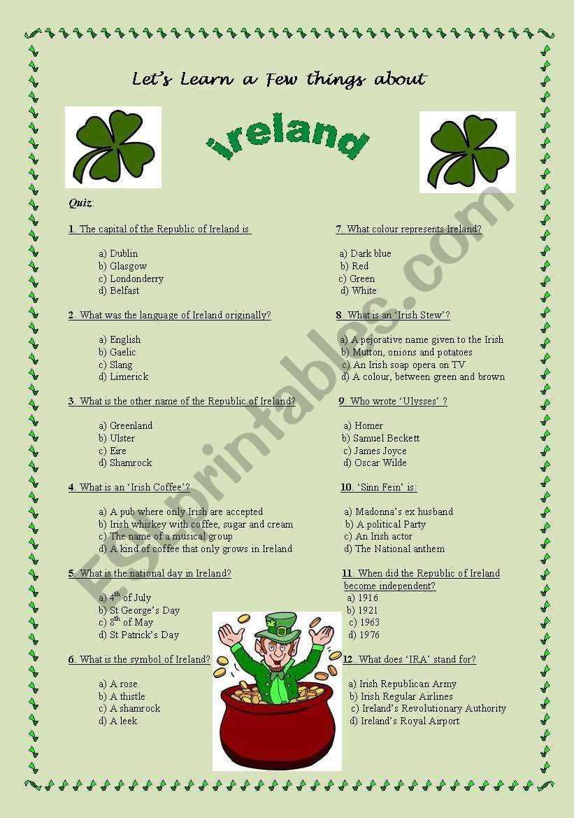 A Few Facts About Ireland 12 Questions With 4 Propositions Each