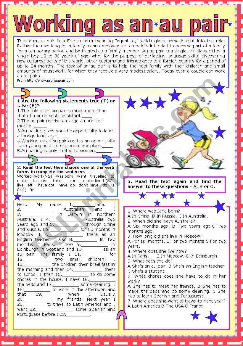 Working as an au pair worksheet