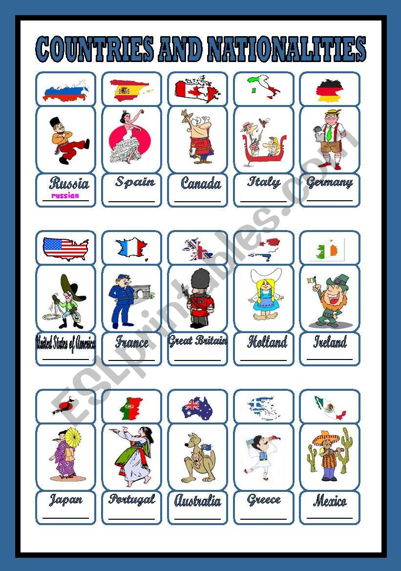 countries and nationalities (1/3)