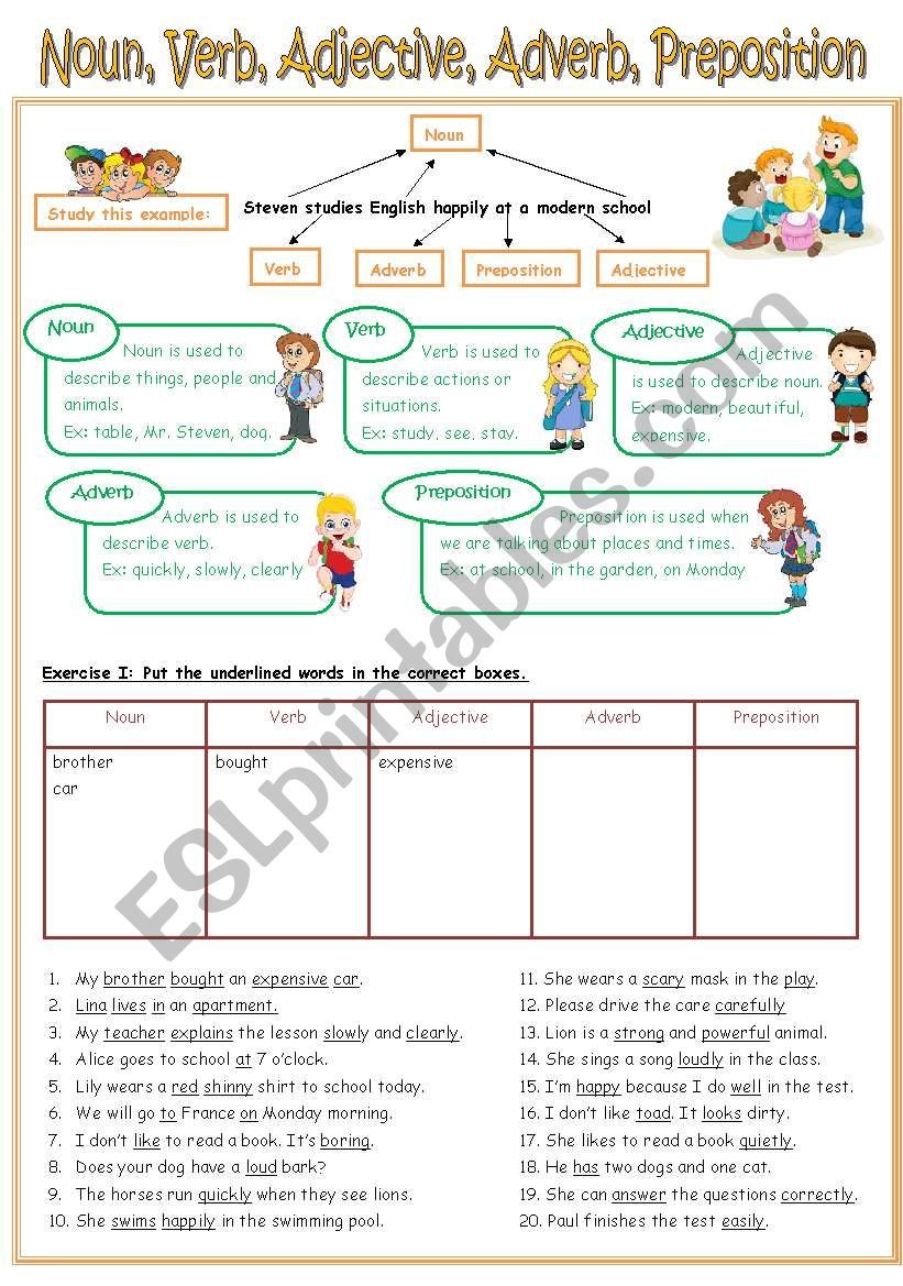 Re Uploaded Worksheet Nounverbadjectiveadverbpreposition Key