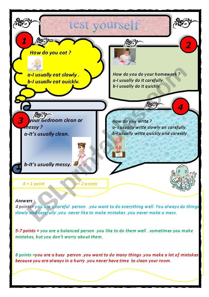 English Worksheets: Test Yourself / Persomality Quiz