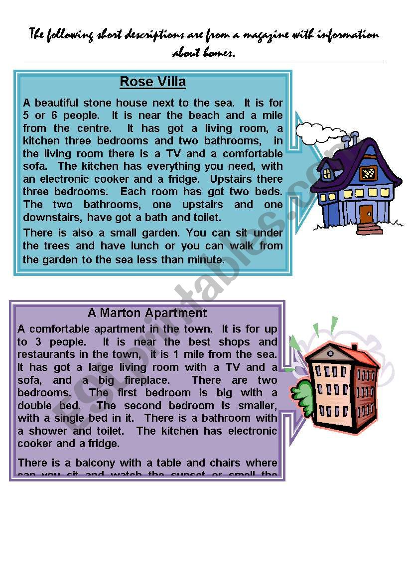 describing different types of houses
