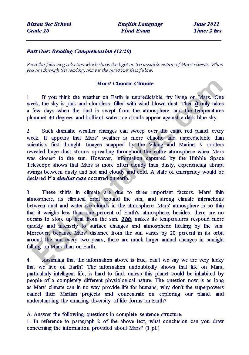 - Final Exam For Grade 10 - ESL Worksheet By Ayag75