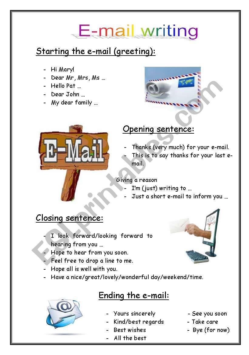 English e-mail writing worksheet