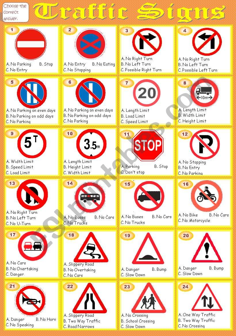 Worksheets Traffic Signs Worksheets traffic signs esl worksheet by vanara worksheet