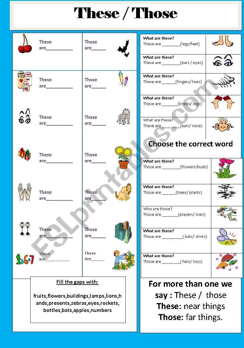 These Those Esl Worksheet By Jhansi