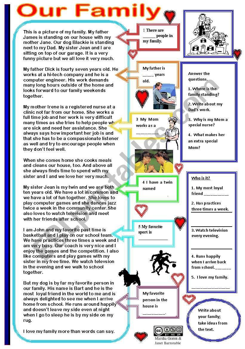 Our Family worksheet