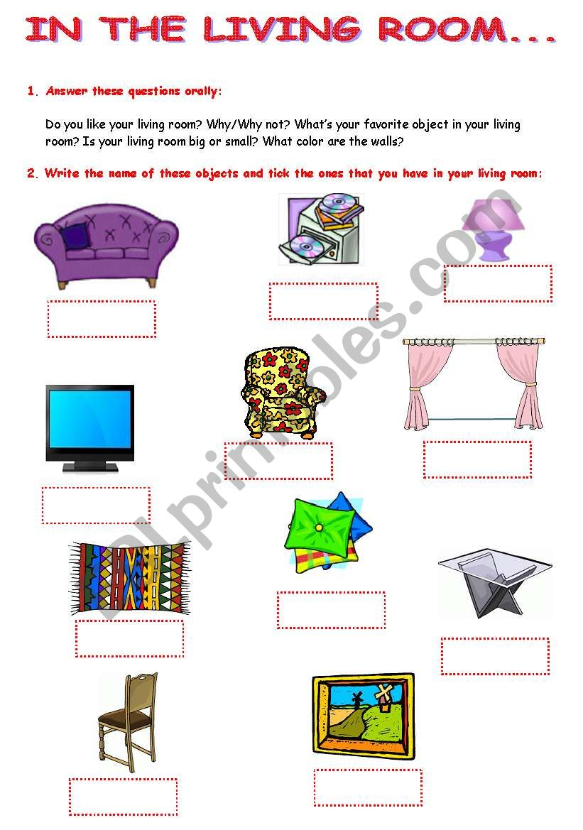 Rooms Worksheet: ESL Worksheet By Crisprata