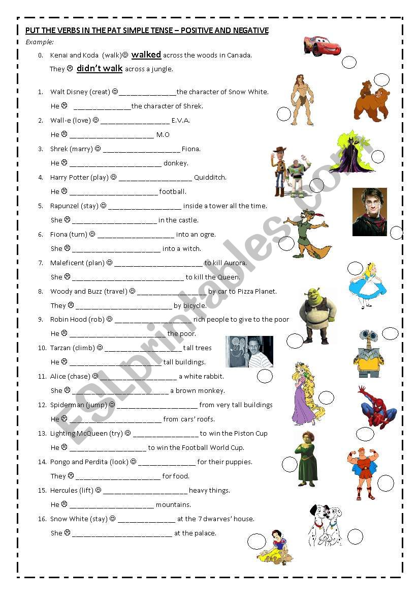 simple past: positive and negative sentences (regular verbs) famous movie characters