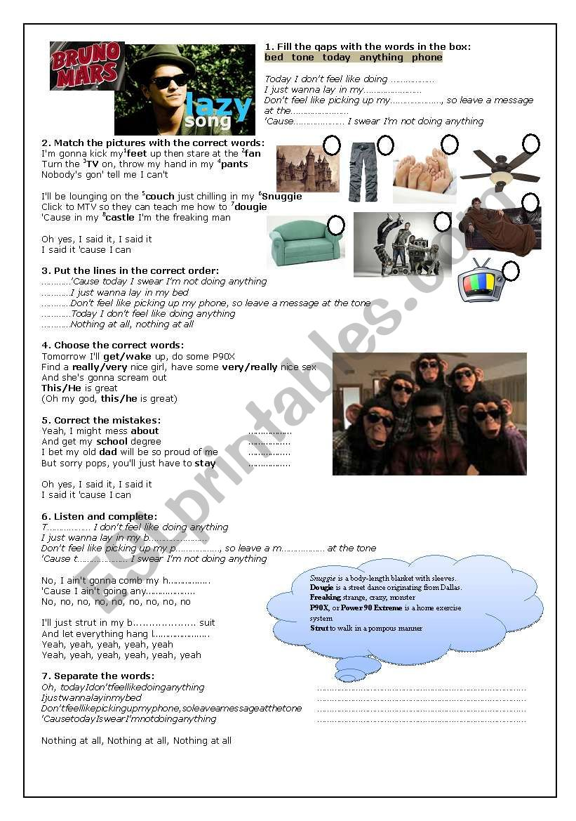 Bruno Mars - The Lazy Song worksheet