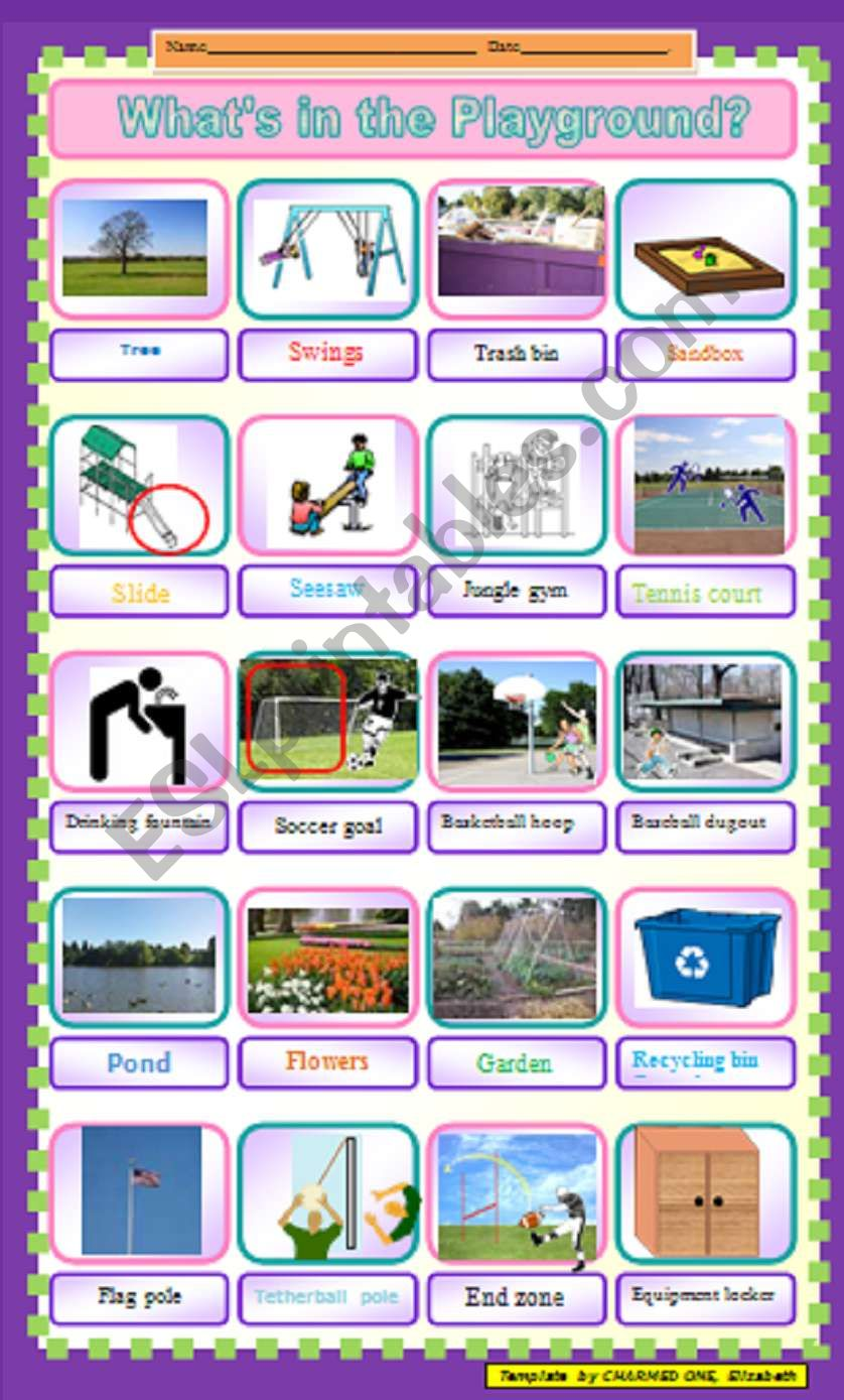 School yard places and objects for a treasure hunt outdoors - a great party game or reward for the students´hard work