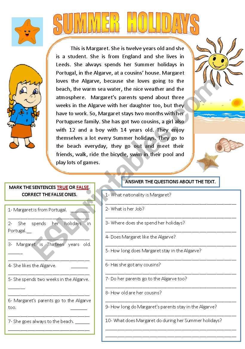 - SUMMER HOLIDAYS (READING AND COMPREHENSION) - ESL Worksheet By
