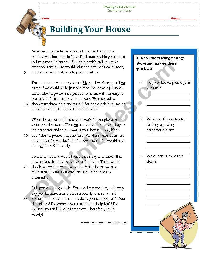 - Reading Comprehension Worksheet (Building A House, Wise Story