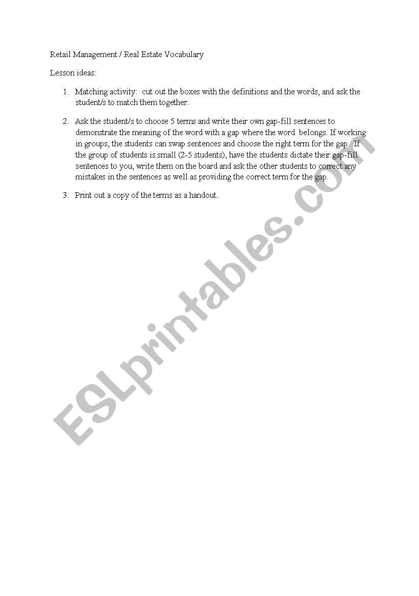 English worksheets: Retail Management and Real Estate terminology ...