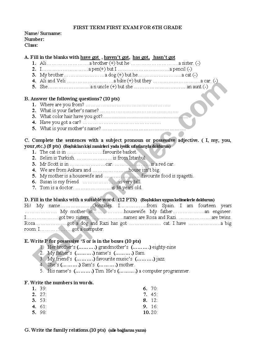 exam - ESL worksheet by nazlialtuncu