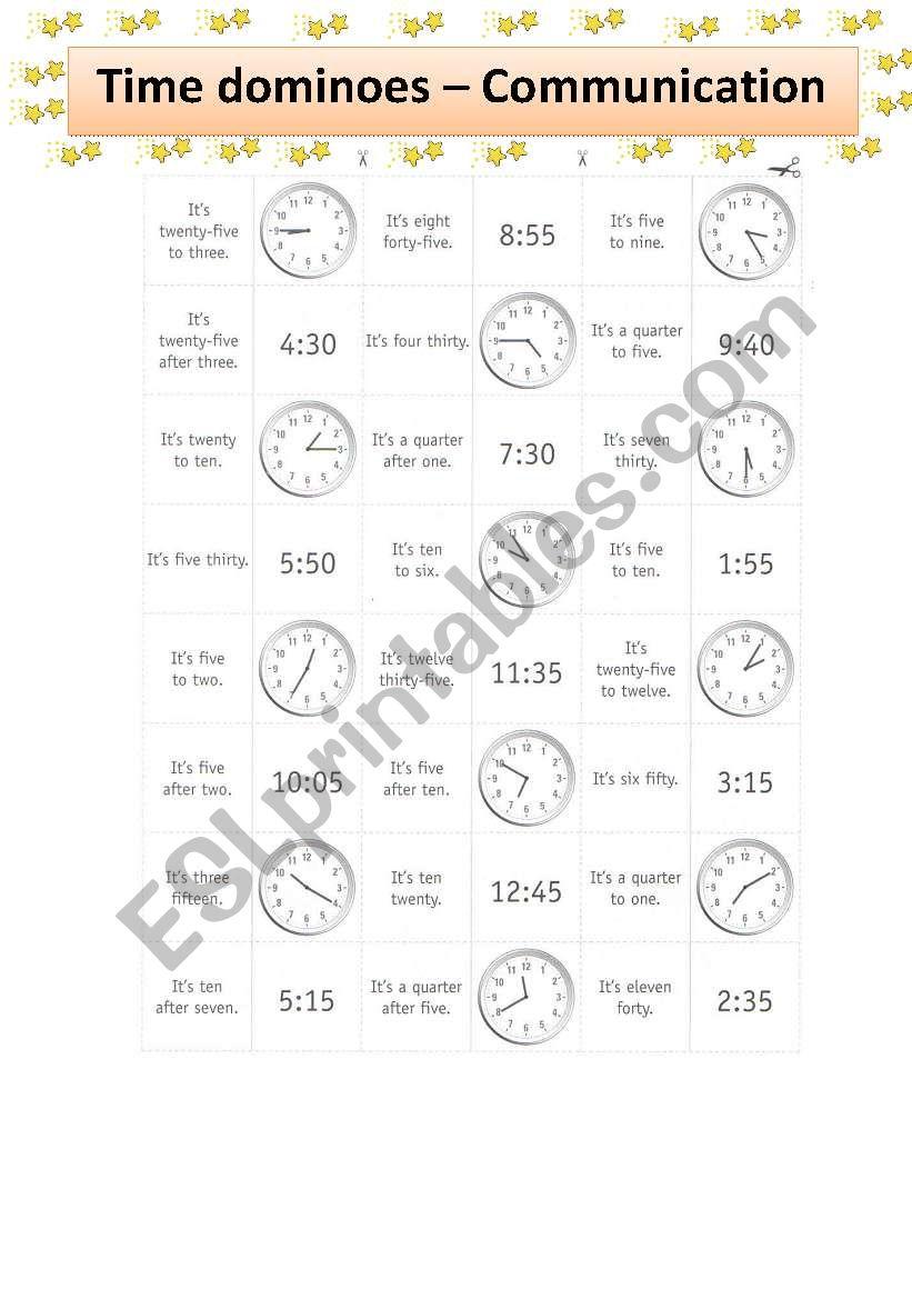 time dominoes esl worksheet by cristavella. Black Bedroom Furniture Sets. Home Design Ideas