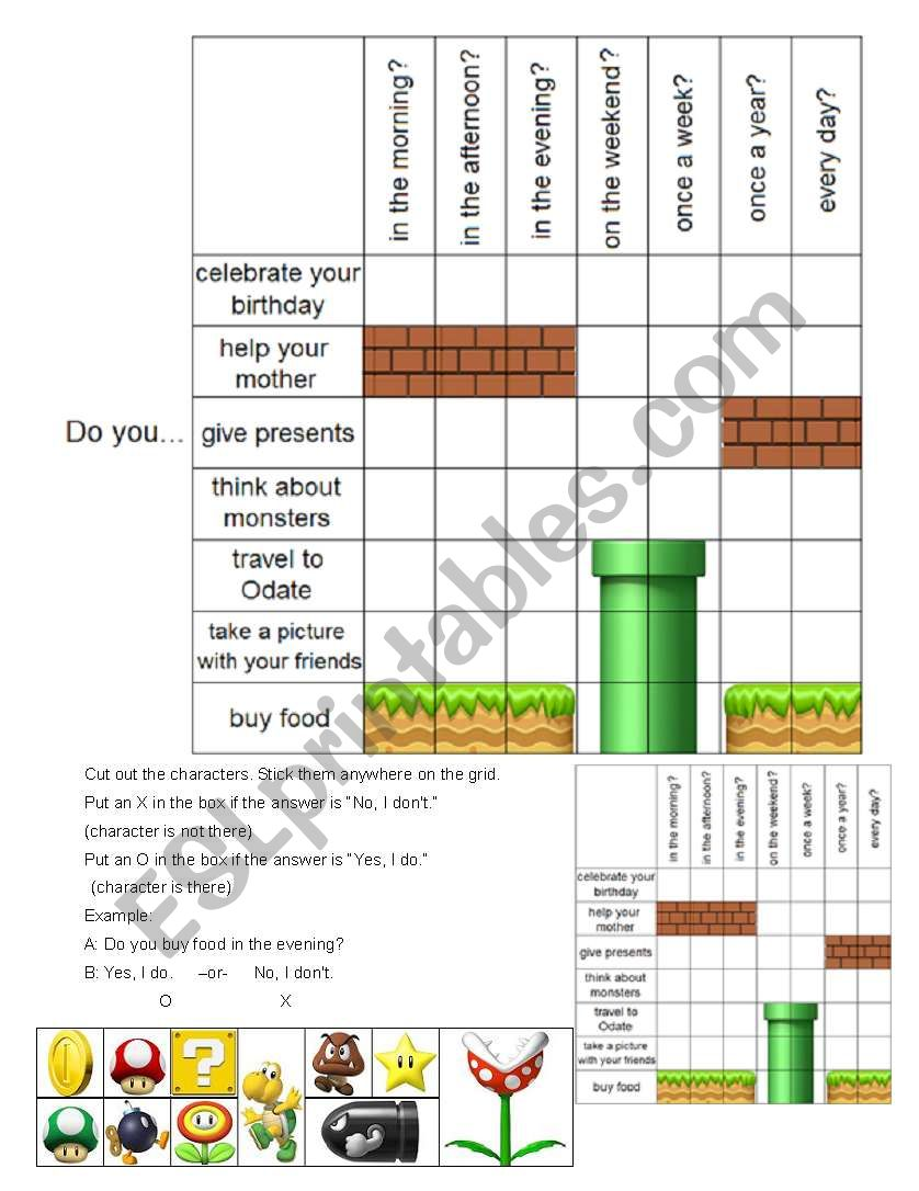 Super Mario Battleship Game - Do you...Verb...Time (Simple Present Tense)