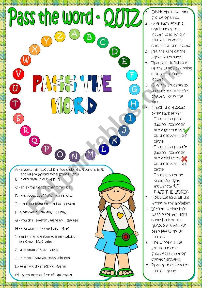 Pass the word - quiz  worksheet