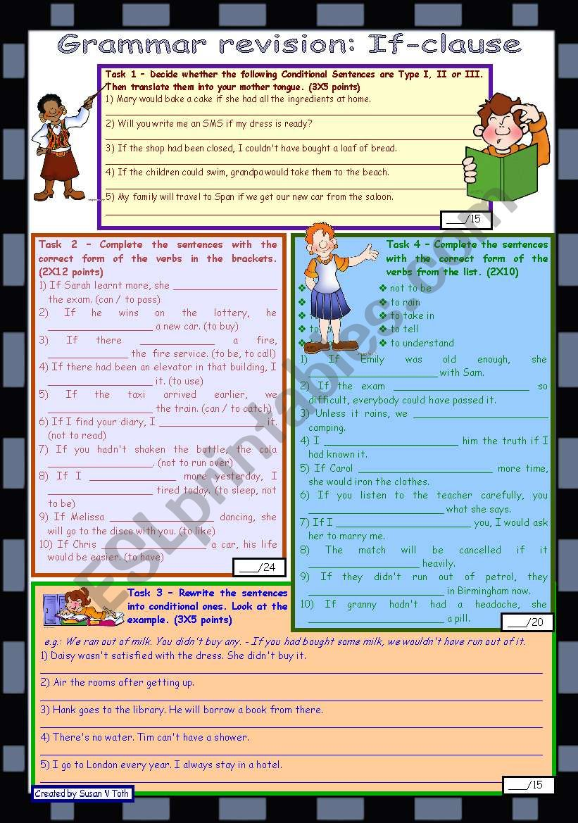 Grammar revision - If-clause *** 4 tasks *** with key *** fully editable *** B&W version