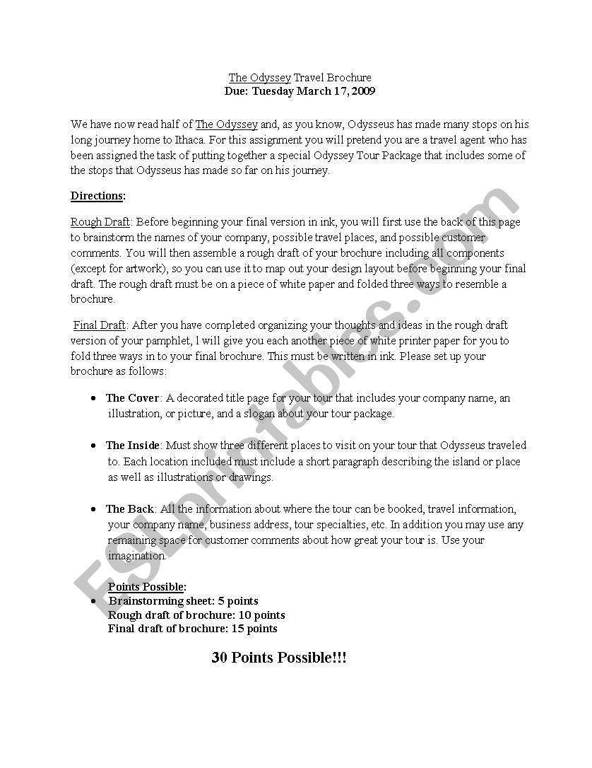 english worksheets  odyssey travel brochure assignment