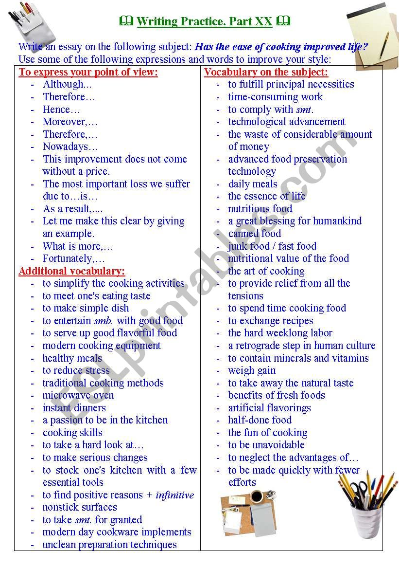 Writing practice for TOEFL/IELTS exams. Useful expressions and vocabulary. Part XX.